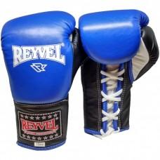 Рукавиці бокс Reyvel шкір сині на шнурівку 10OZ