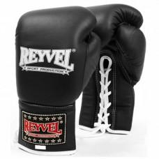 Рукавиці бокс Reyvel шкір чорні на шнурівку 10OZ