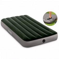 Надувний матрац Intex 64761 Downy Airbed (99х191х25см,. вбудований насос ножний)