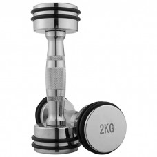 Гантель хром, 1шт, гумове кільце, 2 кг 80034D-2